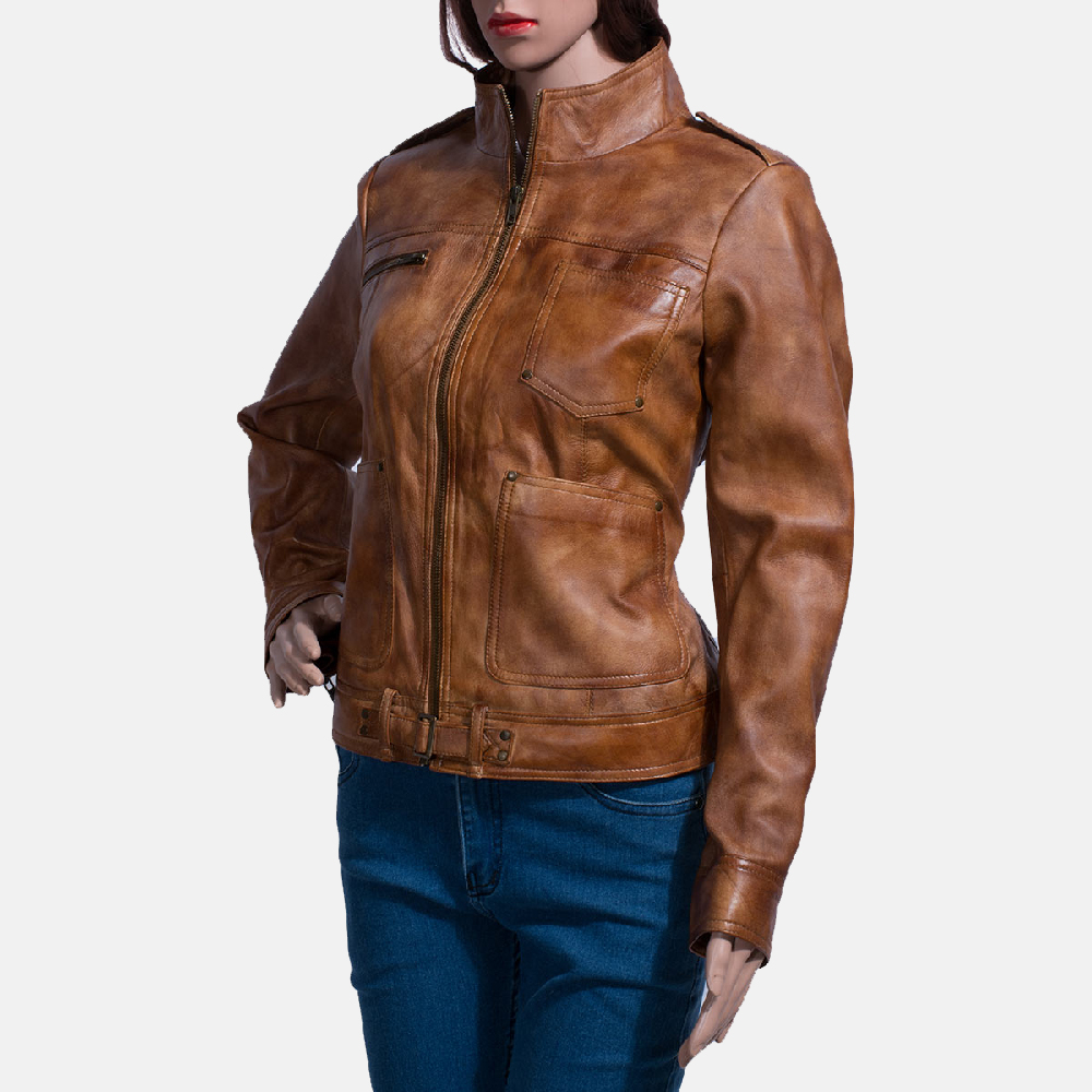 Womens Ethereal Brown Leather Biker Jacket 5