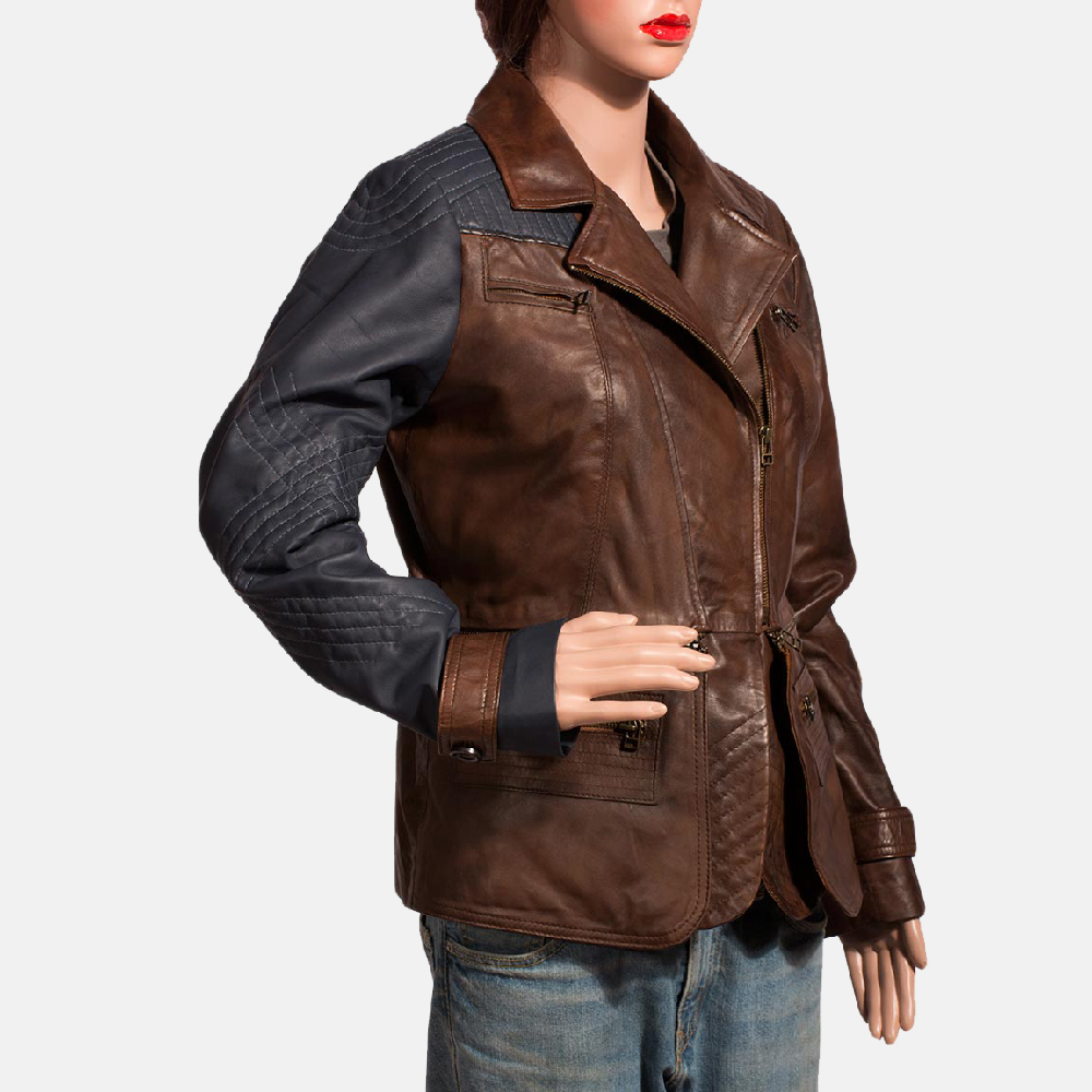 Womens Hydridella Leather Jacket 3