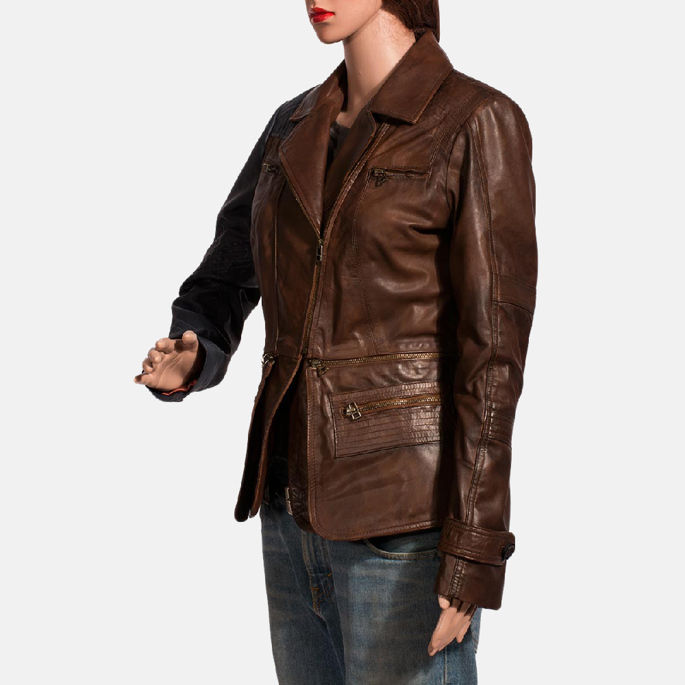 Womens Hydridella Leather Jacket 4