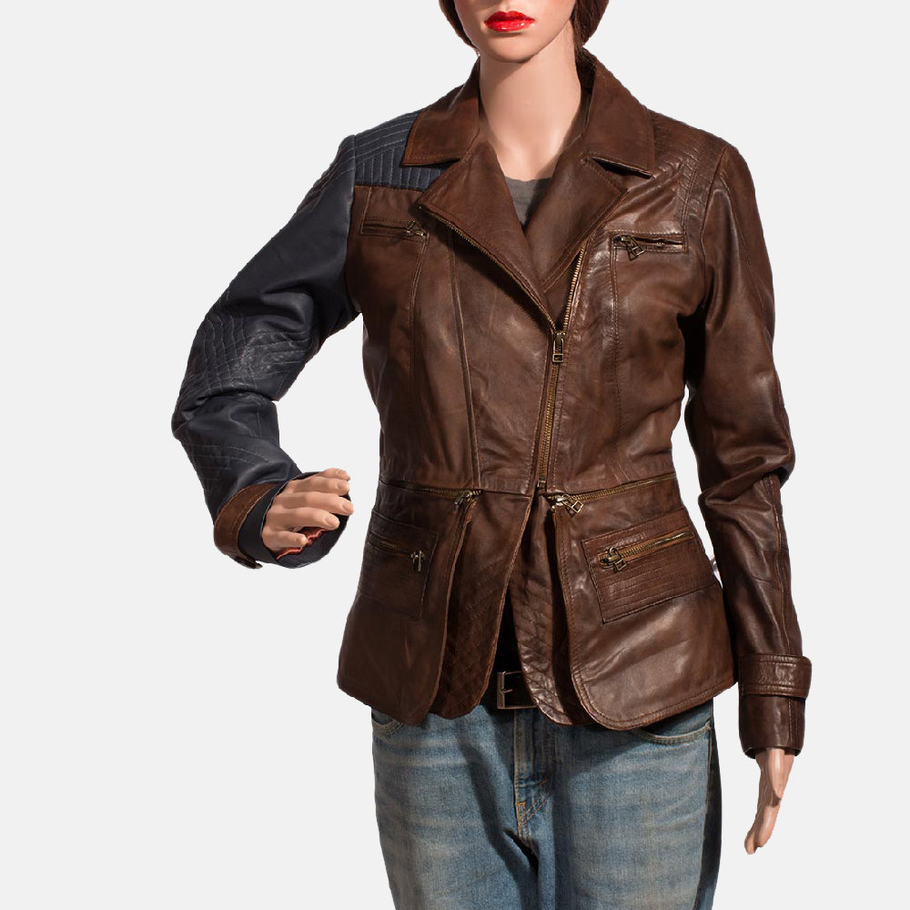Womens Hydridella Leather Jacket 1