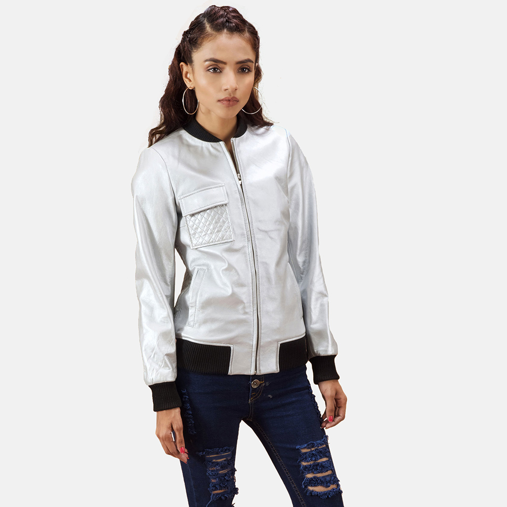 Womens Lana Silver Leather Bomber Jacket 1