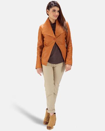 Womens Lee Tan Brown Leather Blazer 1