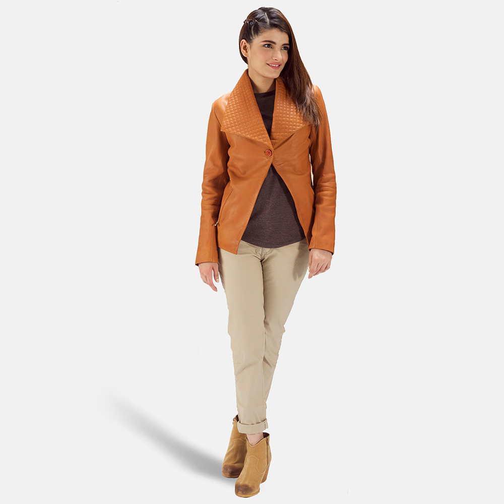 Womens Lee Tan Brown Leather Blazer 2