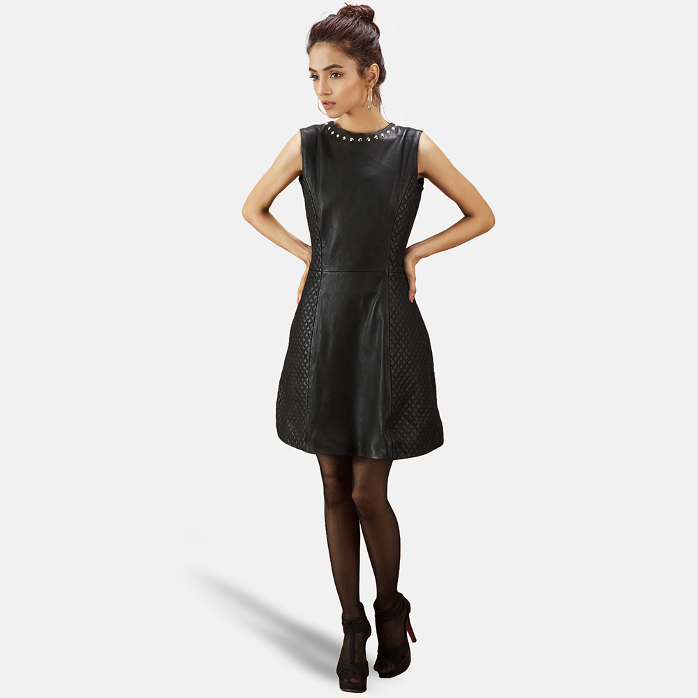 Womens Luxe Black Leather Dress 6