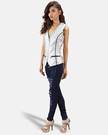 Womens Misfit  Metallic Silver Leather Vest 1