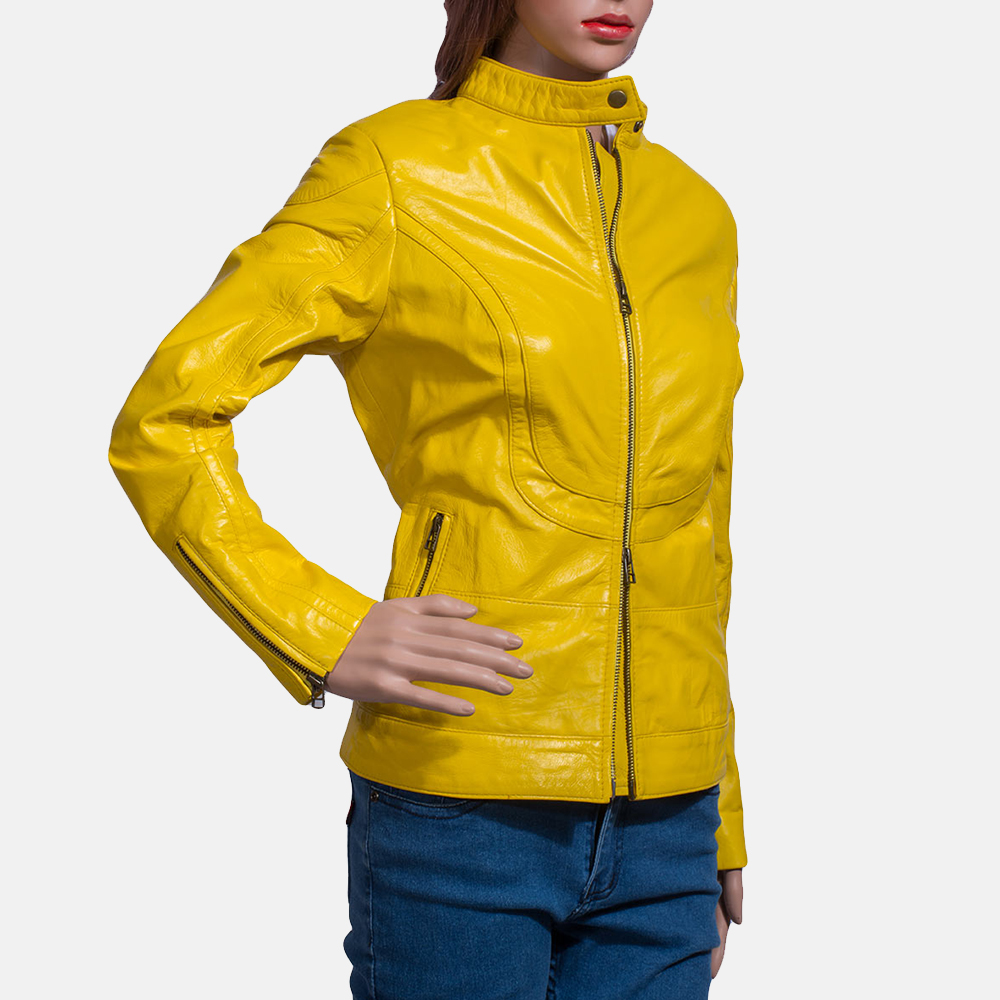 Womens Mystic Yellow Leather Biker Jacket 3