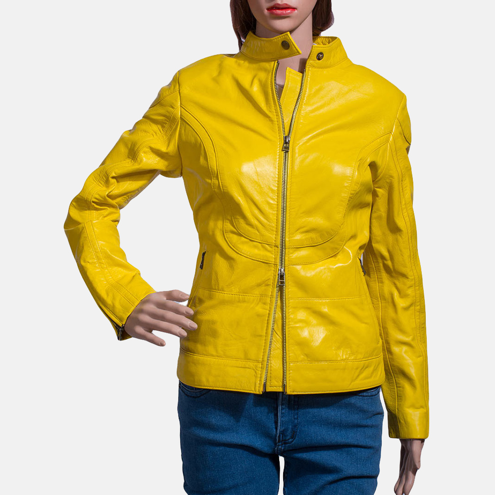 Womens Mystic Yellow Leather Biker Jacket 1
