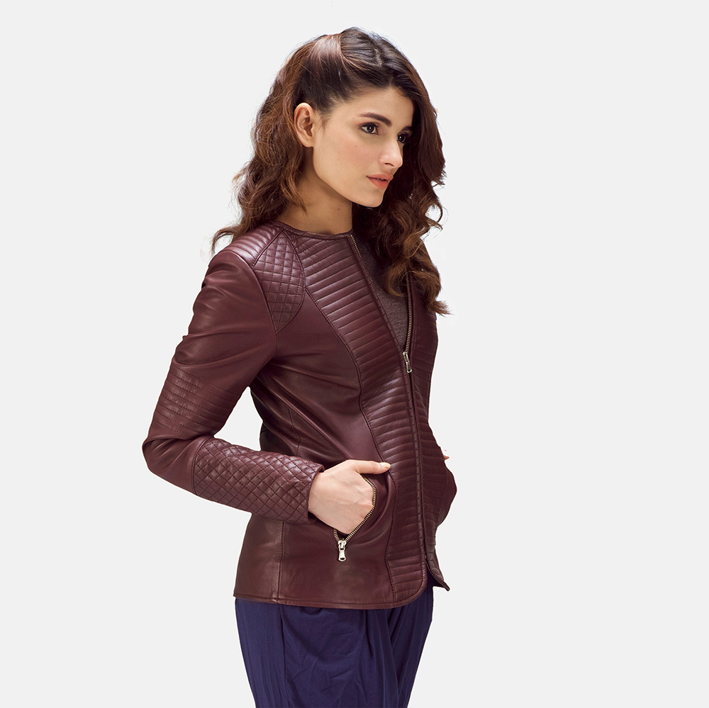 Womens Nexi Quilted Maroon Leather Jacket 1