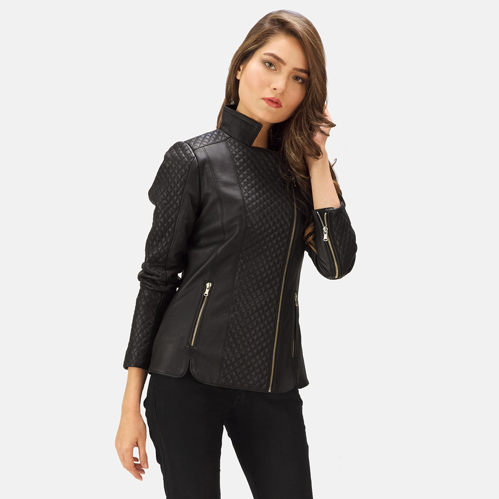 Womens Orient Grain Quilted Black Leather Biker Jacket 1