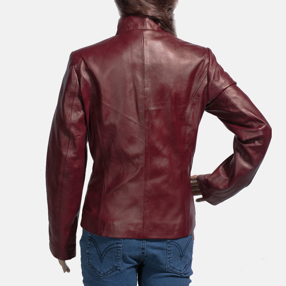 Womens Rumella Maroon Leather Biker Jacket 5