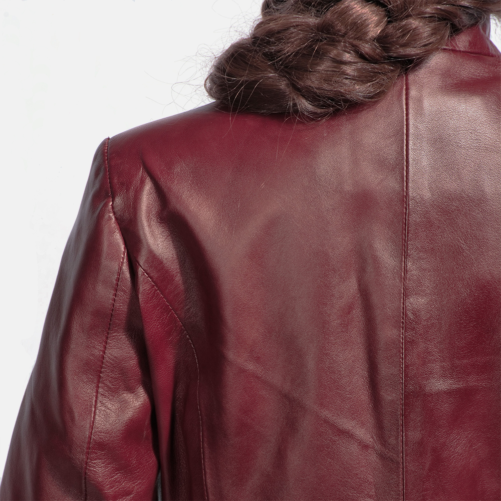 Womens Rumella Maroon Leather Biker Jacket 6