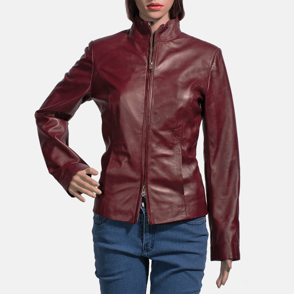 Womens Rumella Maroon Leather Biker Jacket 1
