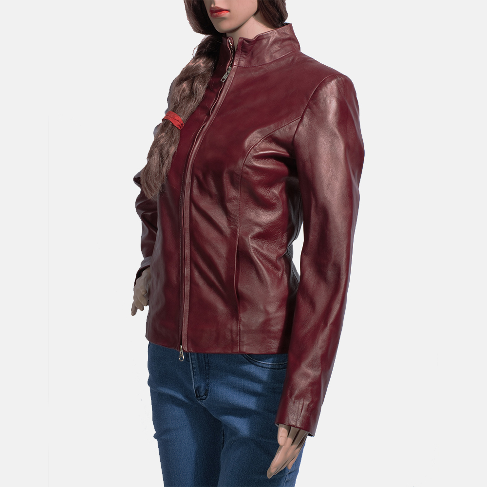 Womens Rumella Maroon Leather Biker Jacket 3