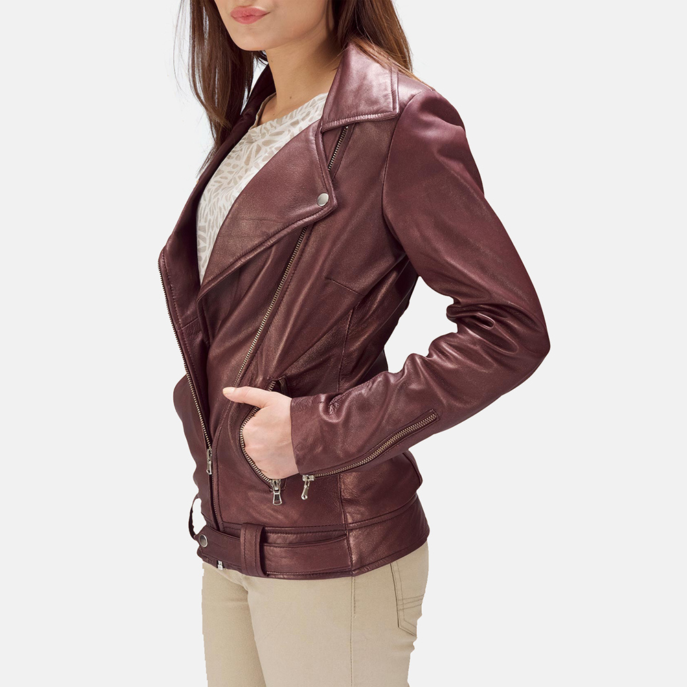 Womens Rumy Maroon Leather Biker Jacket 3