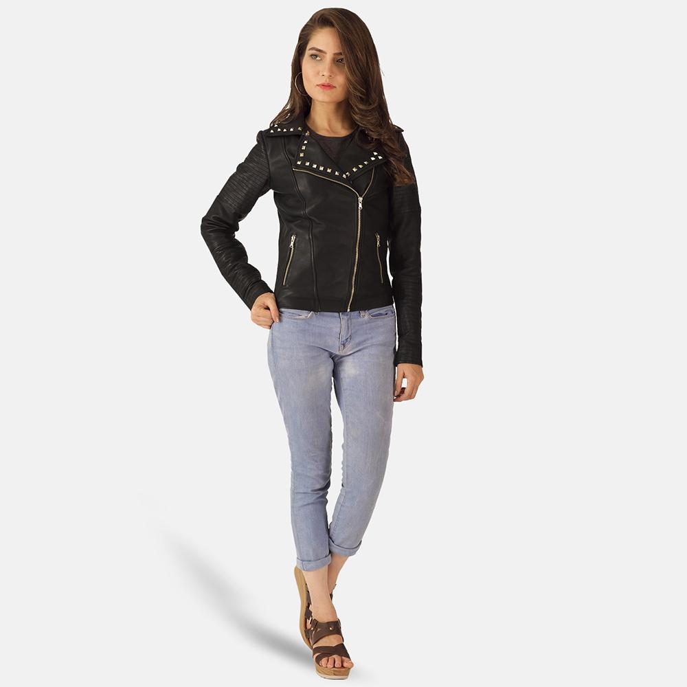 Womens Sally Mae Studded Black Leather Biker Jacket 1