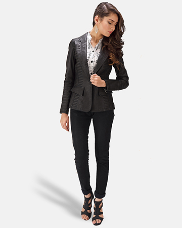 Womens Selina Black Leather Blazer 1