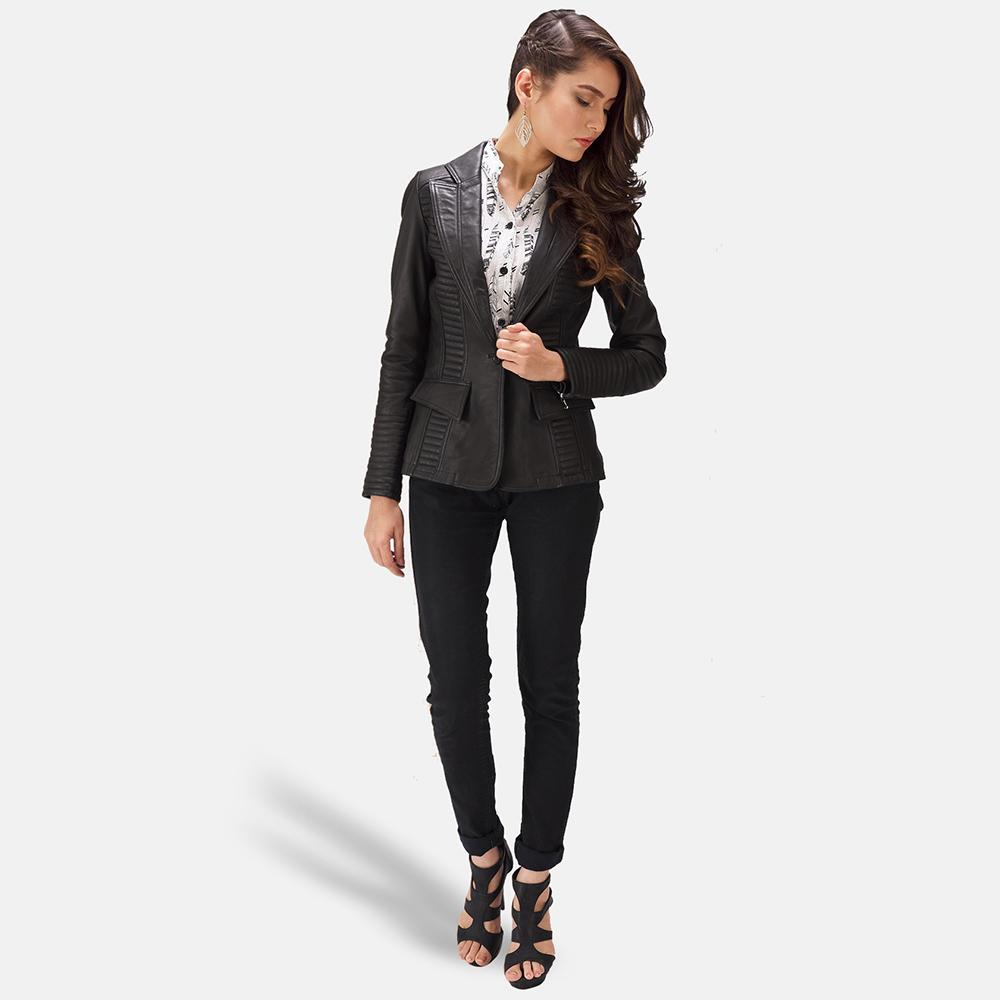 Womens Selina Black Leather Blazer 2