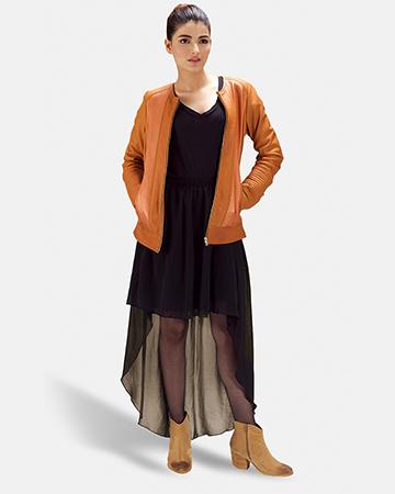 Womens Sleeky Clean Tan Leather Biker Jacket 1
