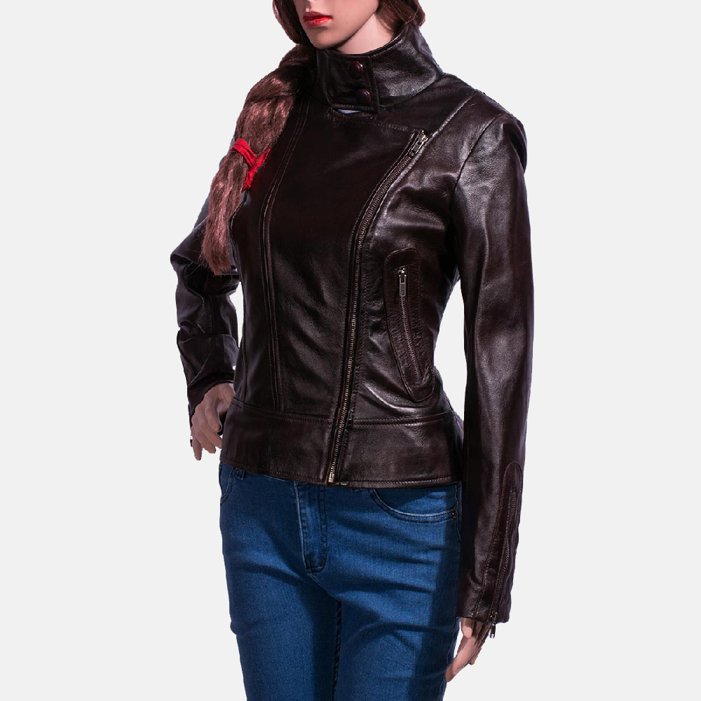 Womens Smolder Black Leather Biker Jacket 4