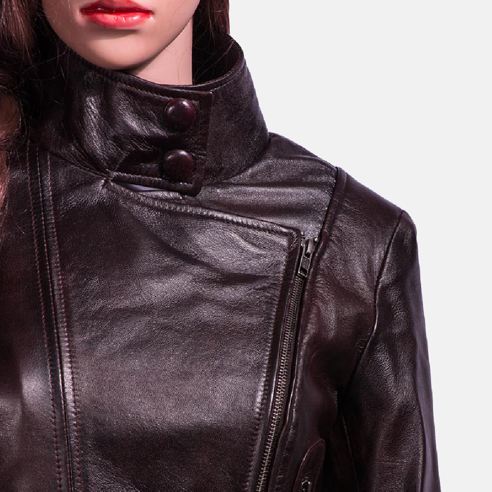 Womens Smolder Black Leather Biker Jacket 2