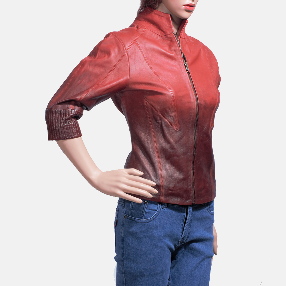 Womens Stacy Spice Red Leather Biker Jacket 3