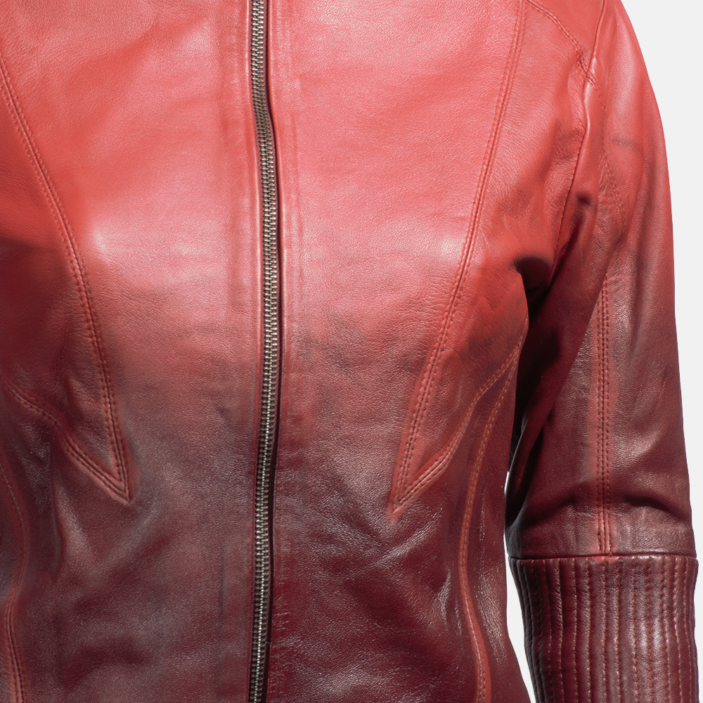Womens Stacy Spice Red Leather Biker Jacket 4