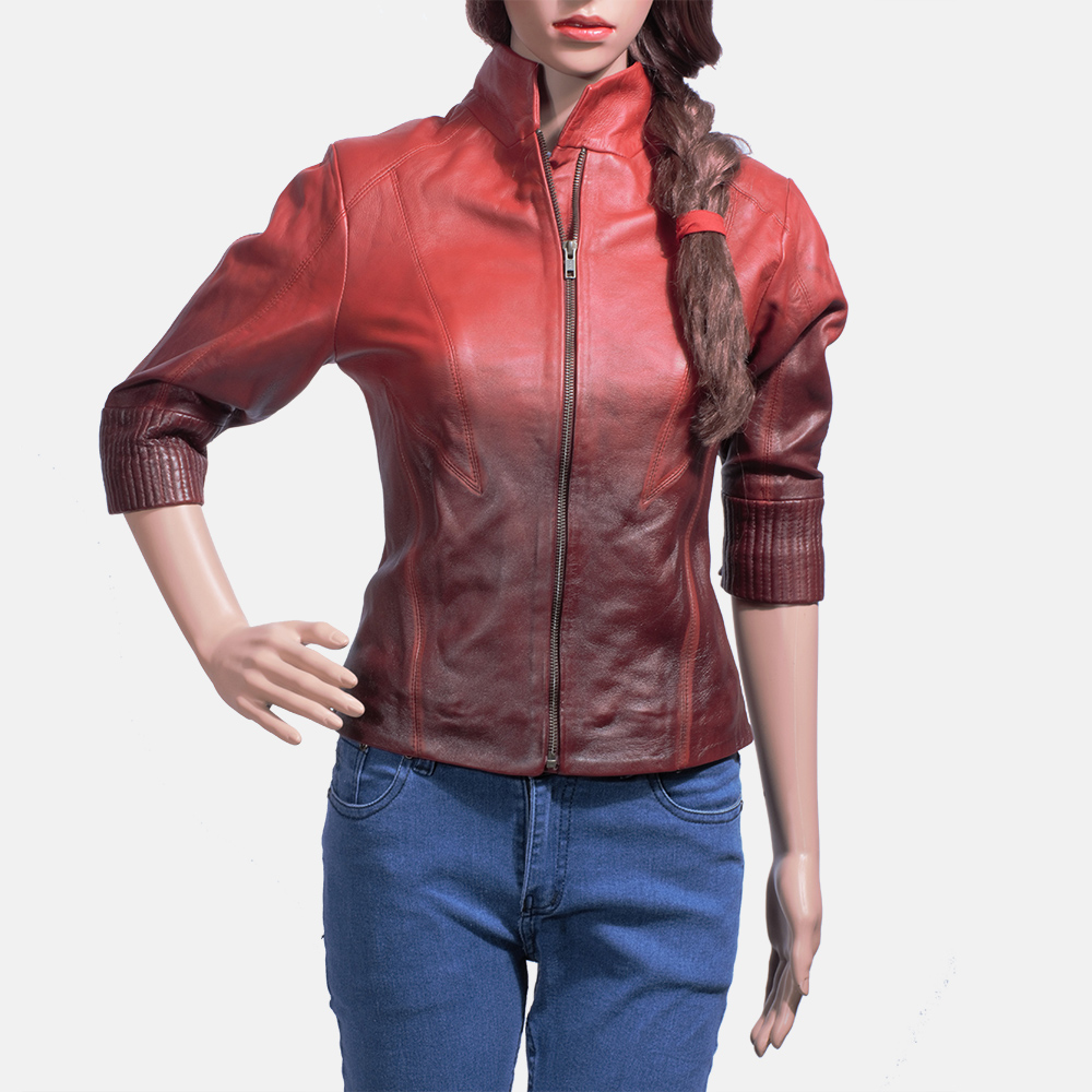 Womens Stacy Spice Red Leather Biker Jacket 1