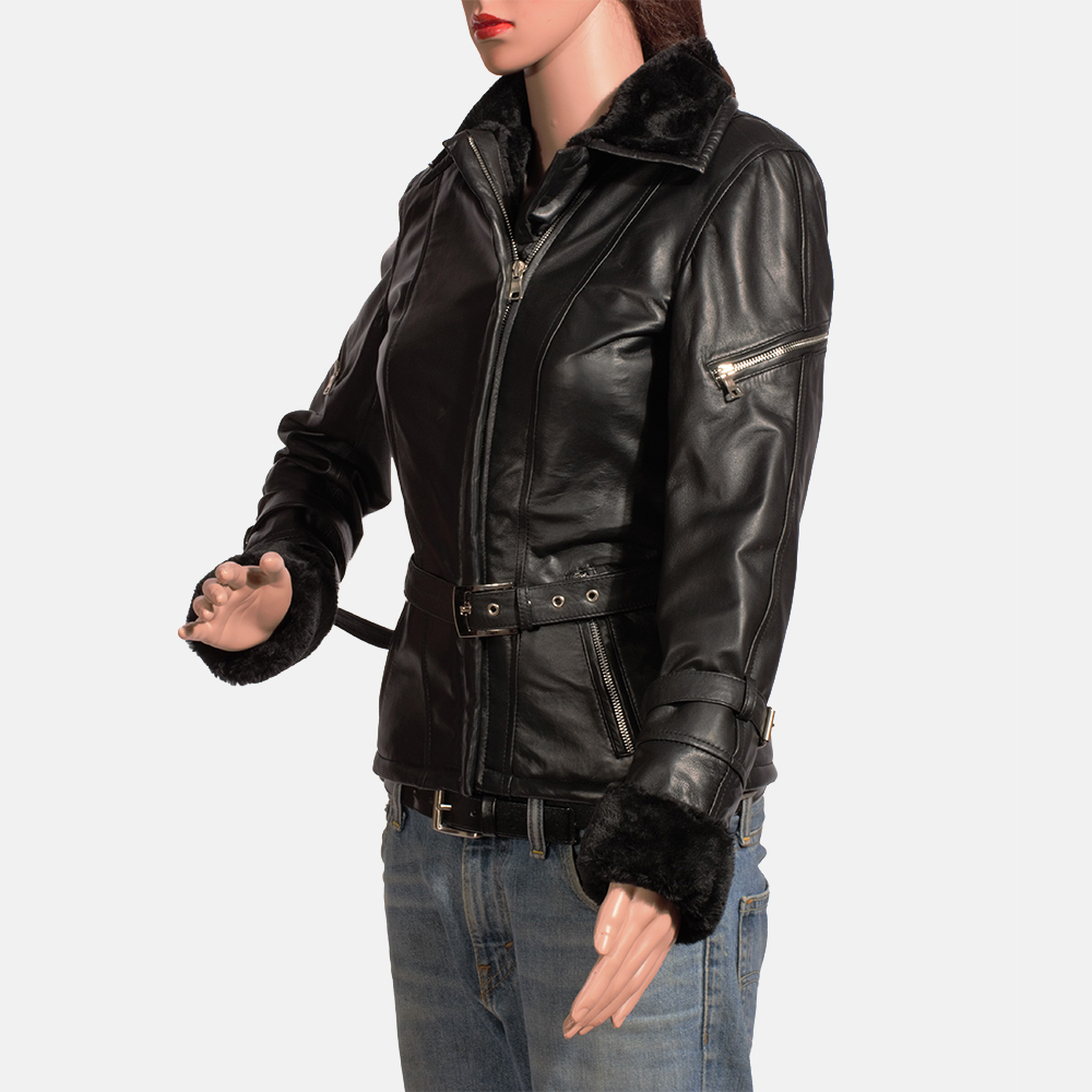 Womens Stella Black Fur Leather Jacket 2