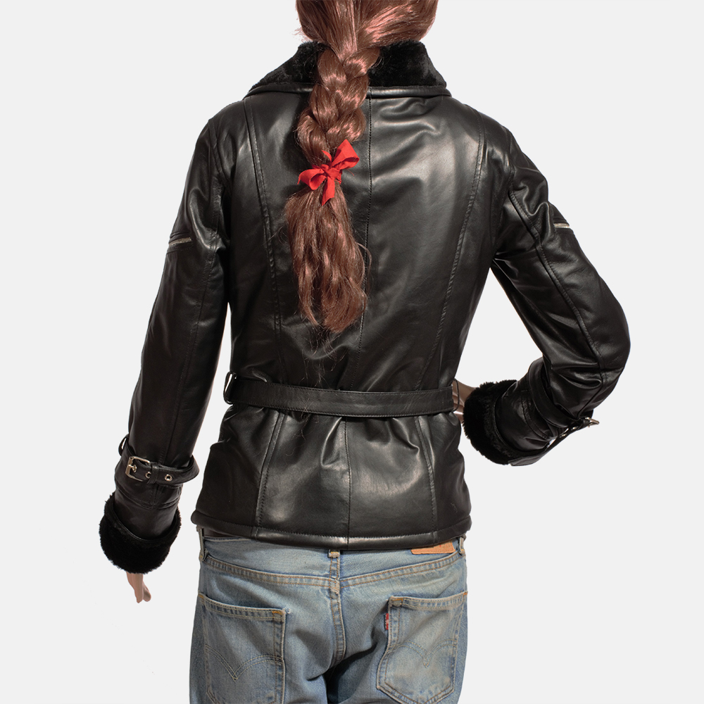 Womens Stella Black Fur Leather Jacket 4