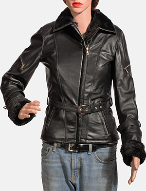 Womens Stella Black Fur Leather Jacket