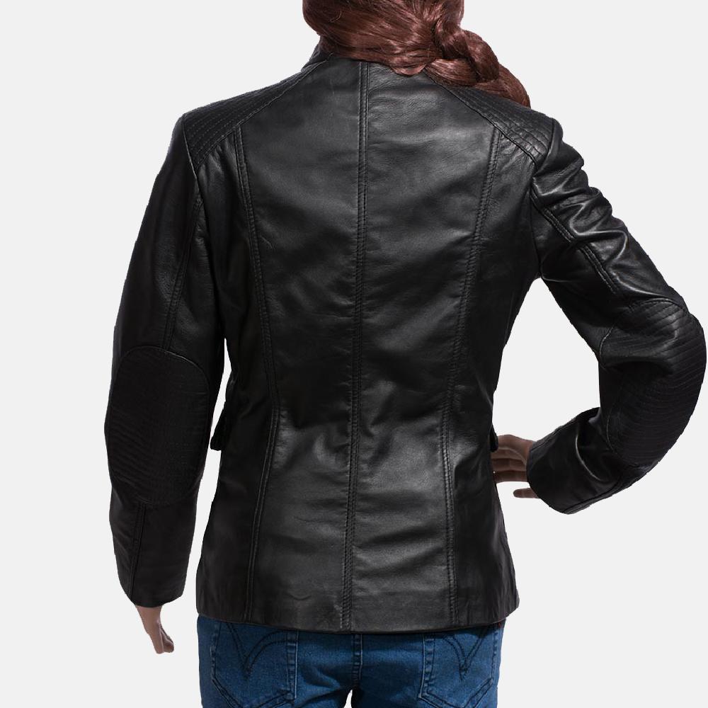 Womens Strada Black Leather Jacket 5