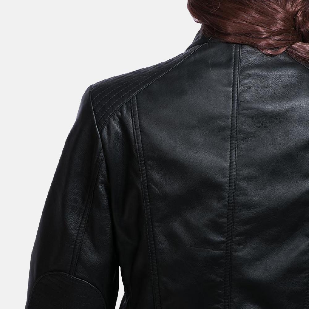 Womens Strada Black Leather Jacket 3