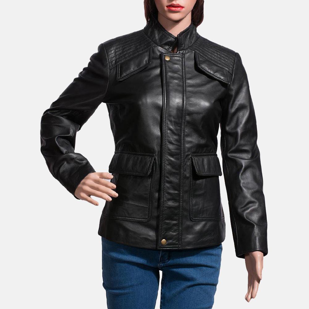 Womens Strada Black Leather Jacket 1