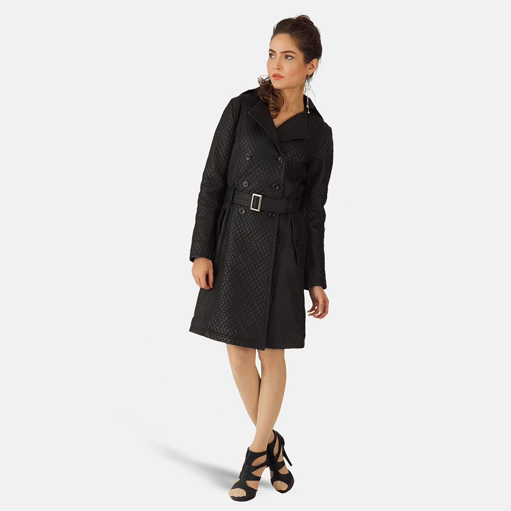Womens Sweet Susan Black Leather Trench Coat 2