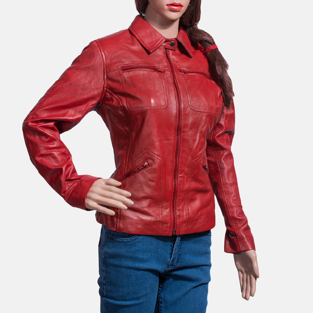 Womens Tomachi Red Leather Jacket 2