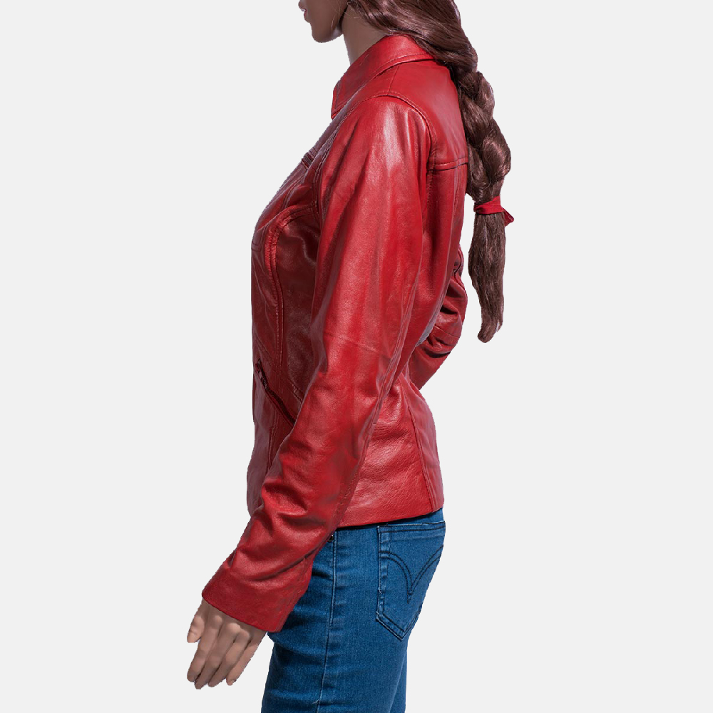 Womens Tomachi Red Leather Jacket 3