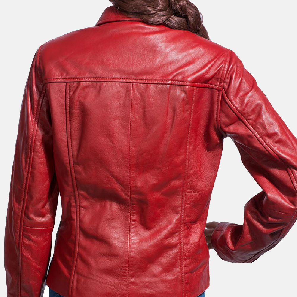 Womens Tomachi Red Leather Jacket 4