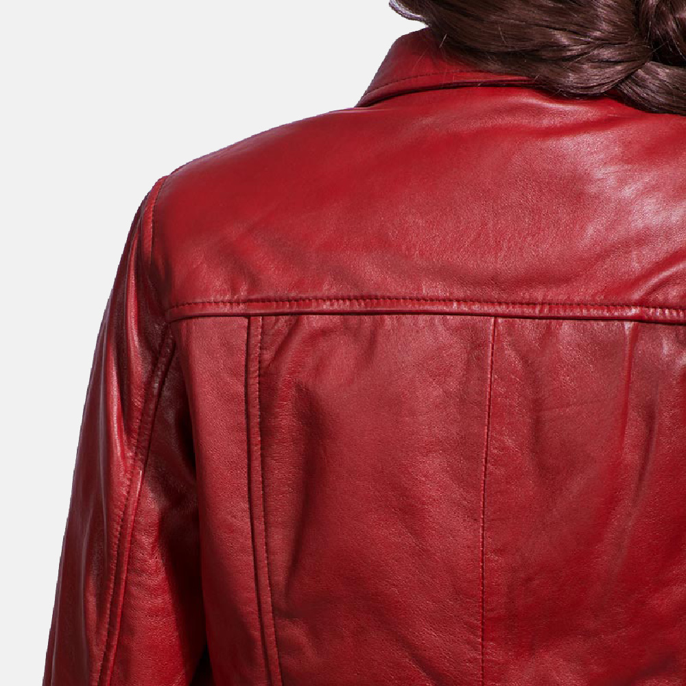 Womens Tomachi Red Leather Jacket 5