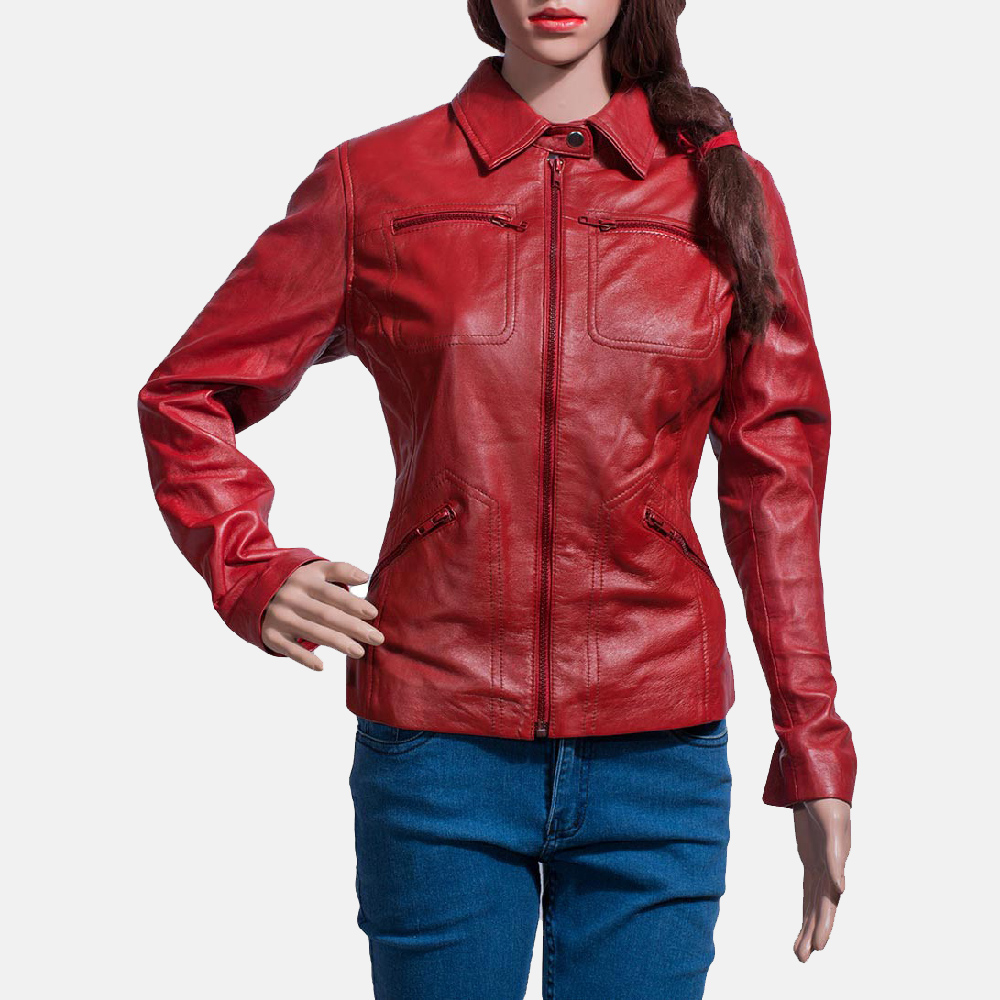 Womens Tomachi Red Leather Jacket 1