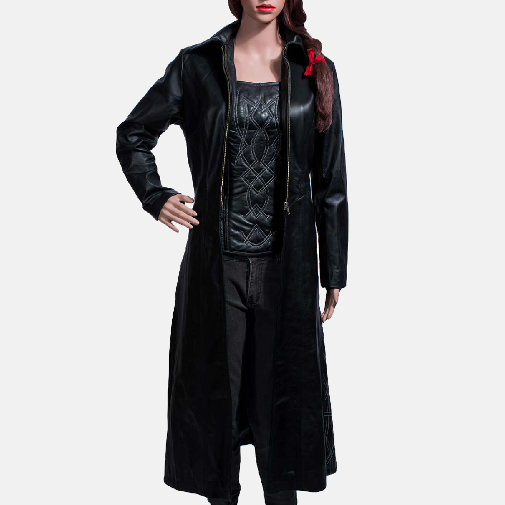 Womens Tribal Black Leather Long Coat & Vest 2
