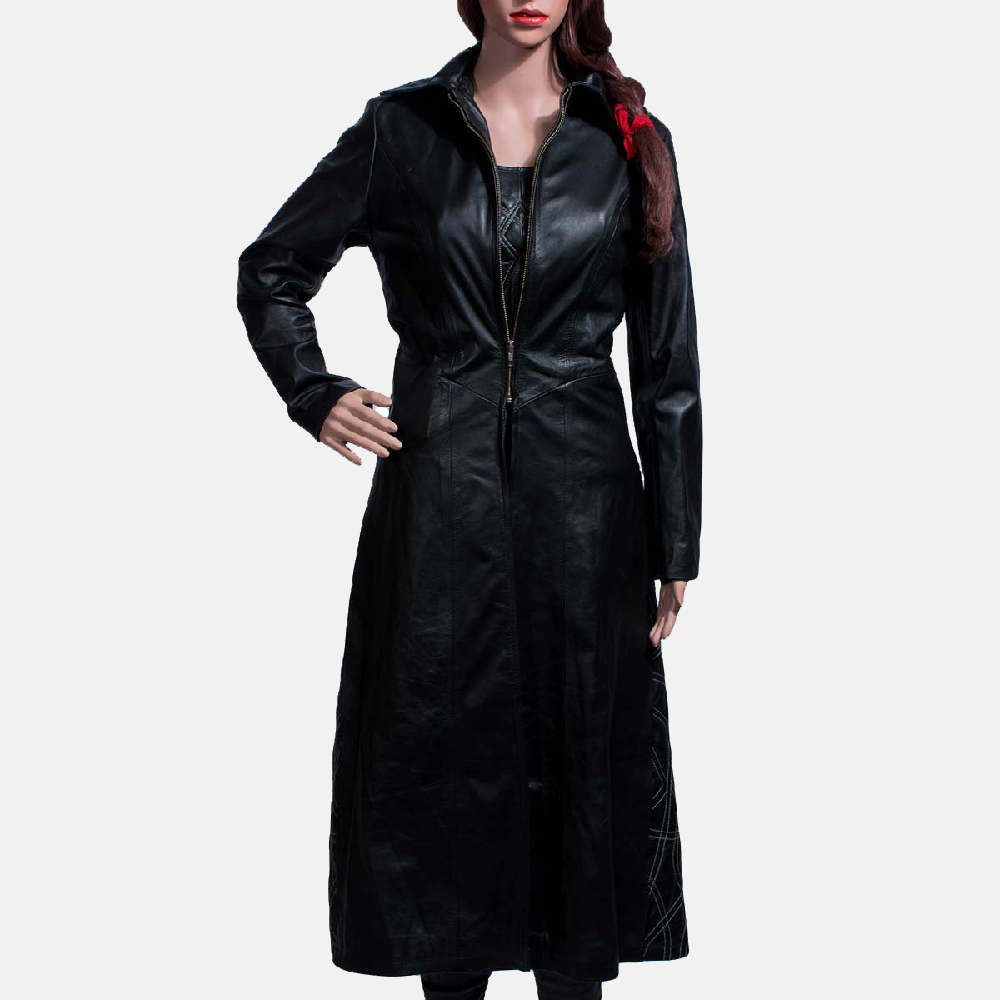 Womens Tribal Black Leather Long Coat & Vest 1