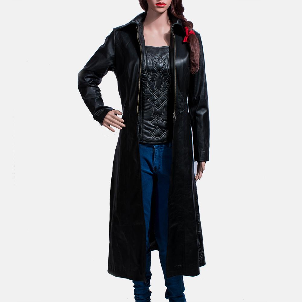 Womens Tribal Black Leather Long Coat 1