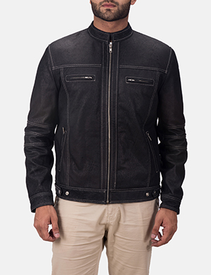 Mens Youngster Black Leather Jacket
