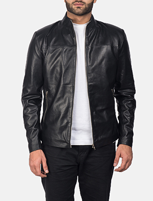 Mens Adornica Black Leather Jacket