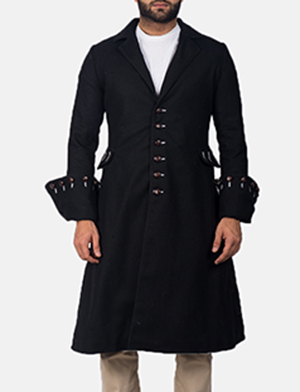 Mens Brady Black Wool Coat
