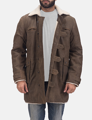 Mens Storm Nite Brown Shearling Coat