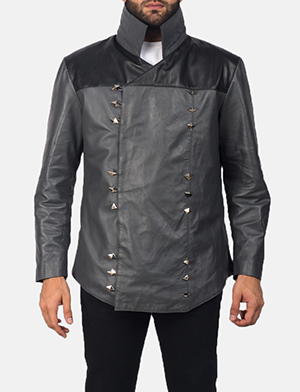 Men's  Adam Grey Leather Jacket