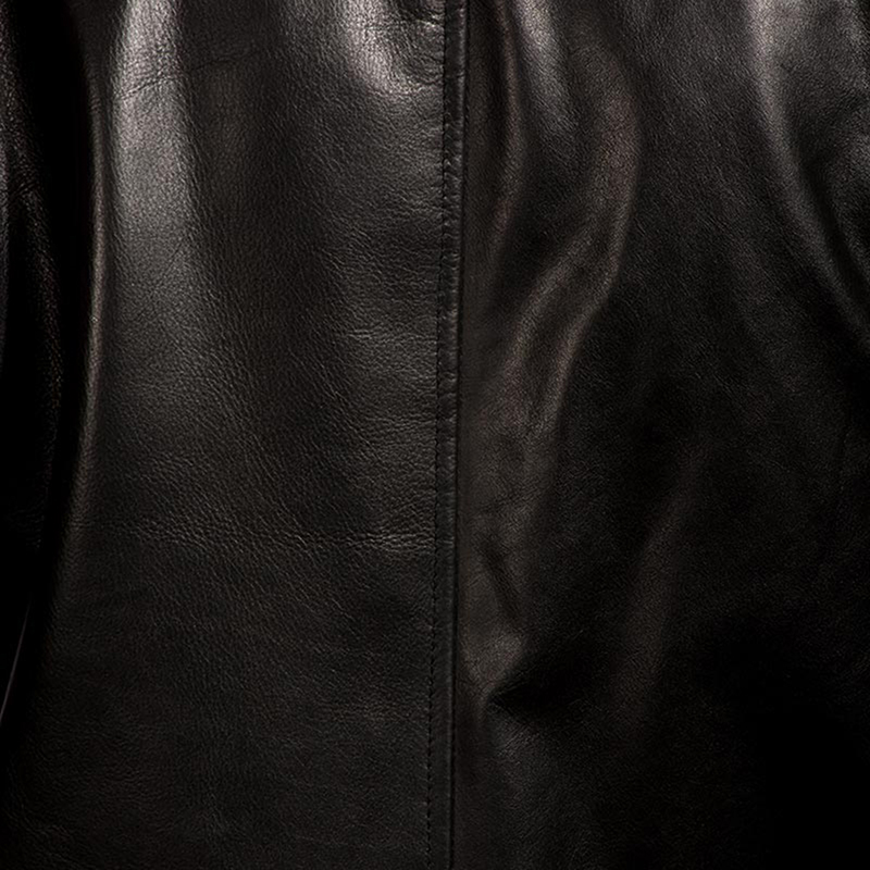 Mens Urban Slate Black Leather Coat 5