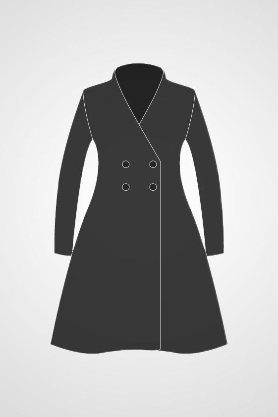 Women's Double Breasted Swing Coat