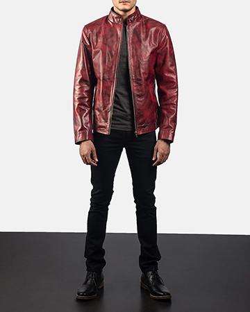 Mens Alex Distressed Burgundy Leather Jacket 1